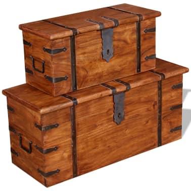 vidaXL 2 Piece Storage Chest Set Solid Wood[9/12]