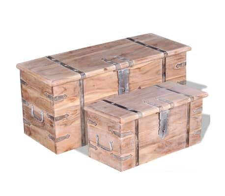 vidaXL Set de două cufere de depozitare din lemn de acacia[1/12]