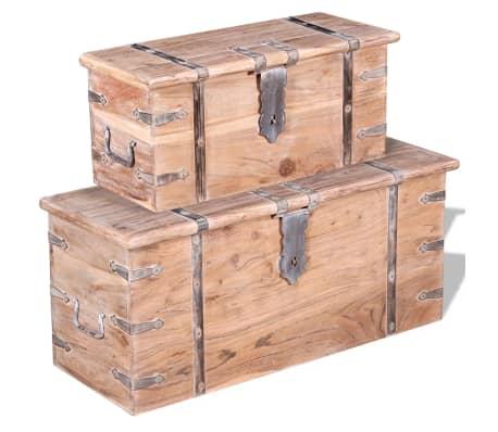 vidaXL Set de două cufere de depozitare din lemn de acacia[2/12]