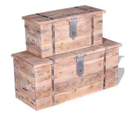 vidaXL Set de două cufere de depozitare din lemn de acacia[12/12]