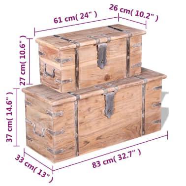 vidaXL Set de două cufere de depozitare din lemn de acacia[8/12]