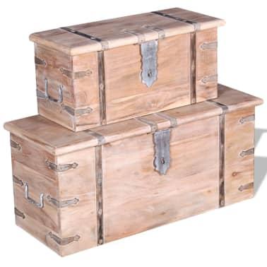 vidaXL Set de două cufere de depozitare din lemn de acacia[9/12]