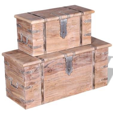 vidaXL Set de două cufere de depozitare din lemn de acacia[10/12]
