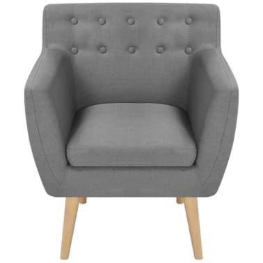 vidaXL Fotoliu din material textil 67 x 59 x 77 cm, gri deschis[2/5]