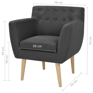 vidaXL Armchair Fabric 67x59x77 cm Dark Grey[5/5]