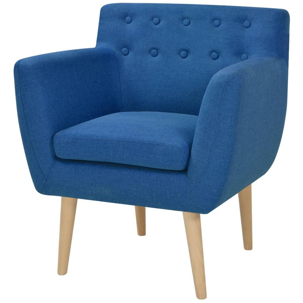 vidaXL Fotel, niebieski, tkanina