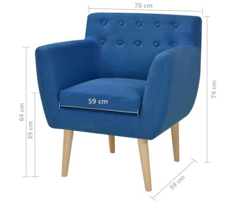 vidaXL Armchair Fabric 67x59x77 cm Blue[5/5]