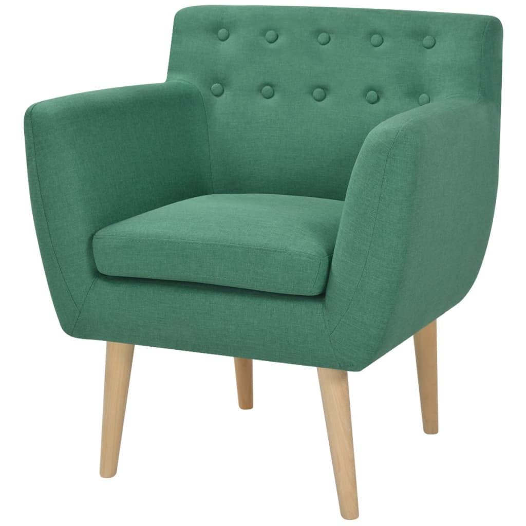vidaXL Fotel, zielony, tkanina