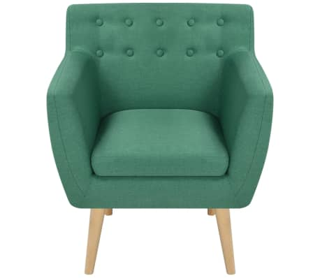 vidaXL Armchair Green Fabric[2/5]