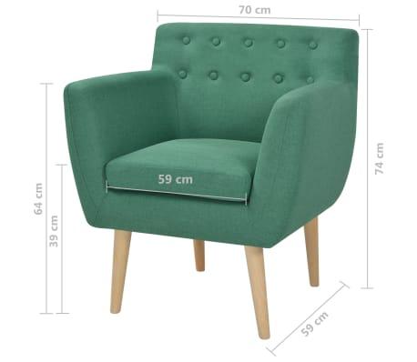 vidaXL Fotelja Tkanina 67x59x77 cm Zelena[5/5]