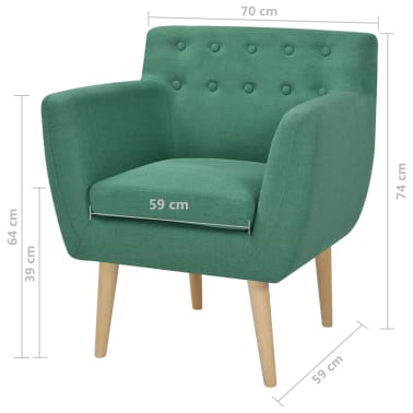 vidaXL Armchair Green Fabric[5/5]