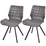 vidaXL Dining Chairs 2 pcs Artificial Leather Gray