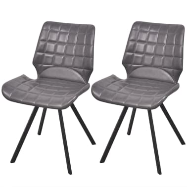 vidaXL Dining Chairs 2 pcs Gray Faux Leather[1/5]