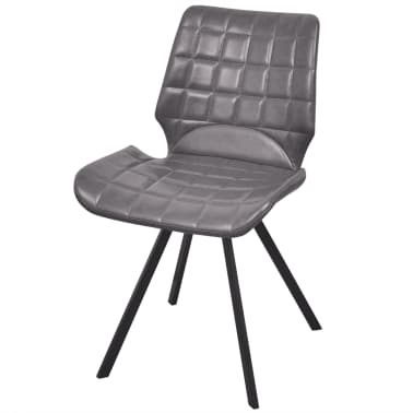 vidaXL Dining Chairs 2 pcs Gray Faux Leather[2/5]