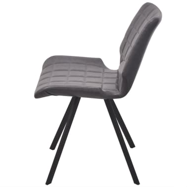 vidaXL Dining Chairs 2 pcs Gray Faux Leather[4/5]