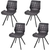 vidaXL Dining Chairs 4 pcs Artificial Leather Black