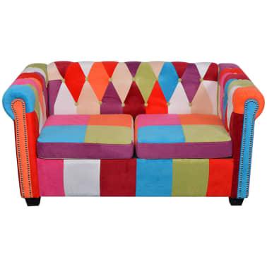 vidaXL Chesterfield Sofa 2-Seater Fabric[2/4]