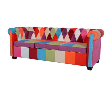 vidaXL Chesterfield Sofa 3-Seater Fabric[1/4]