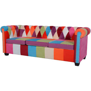 vidaXL Chesterfield Sofa 3-Seater Fabric[1/4]