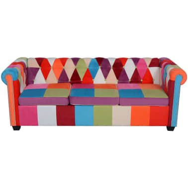 vidaXL Chesterfield Sofa 3-Seater Fabric[2/4]