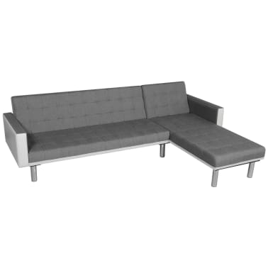 vidaXL Sofa Bed L-shaped Fabric White and Gray[1/7]