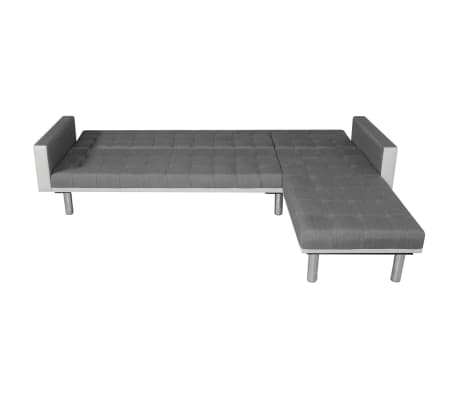 vidaXL Sofa Bed L-shaped Fabric White and Gray[3/7]