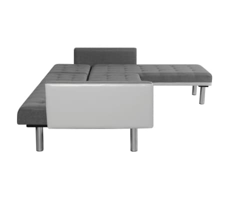 vidaXL Sofa Bed L-shaped Fabric White and Gray[6/7]