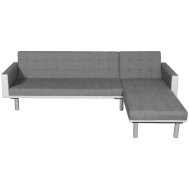 vidaXL Sofa Bed L-shaped Fabric White and Gray[2/7]