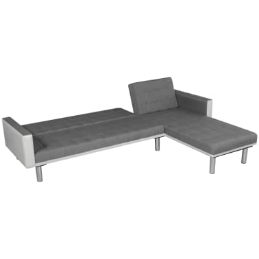 vidaXL Sofa Bed L-shaped Fabric White and Gray[5/7]