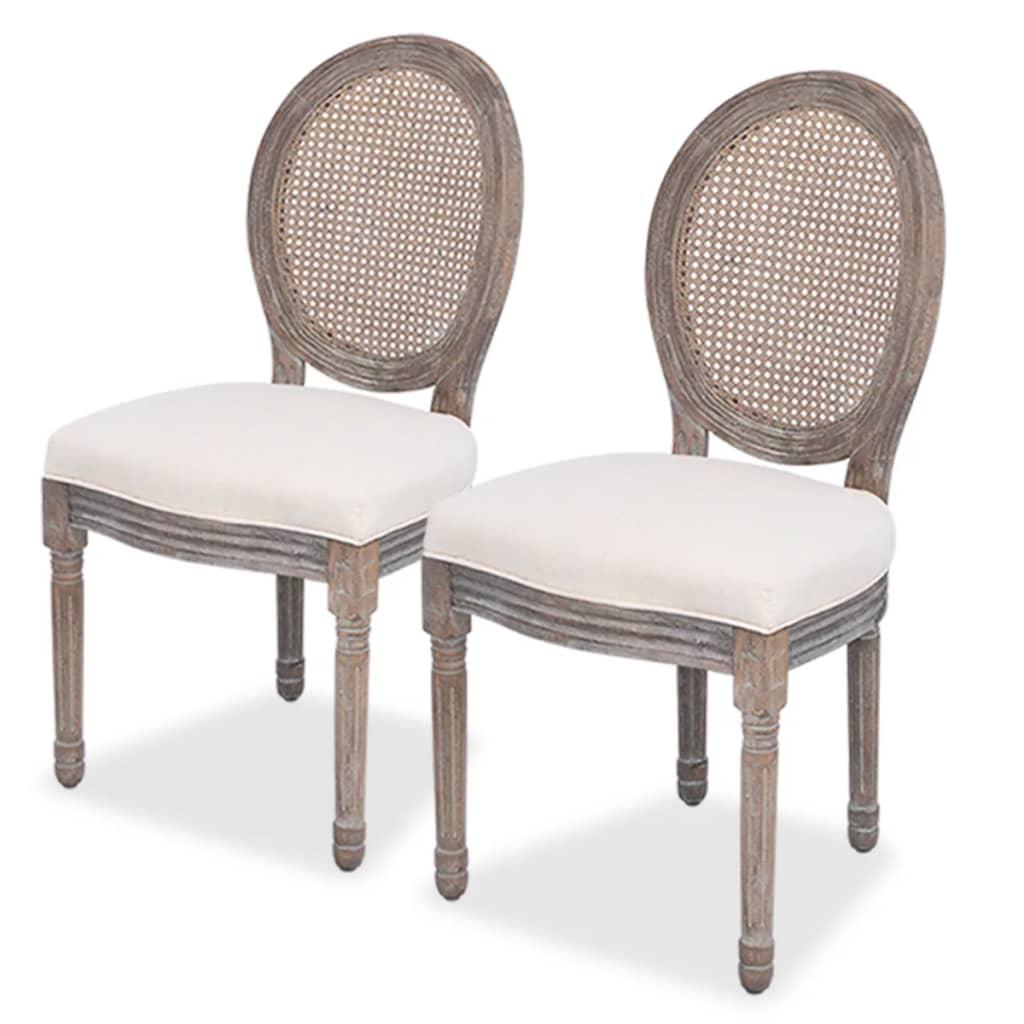 vidaXL Καρέκλες Τραπεζαρίας 2 τεμ. από Λινό Ύφασμα και Ρατάν