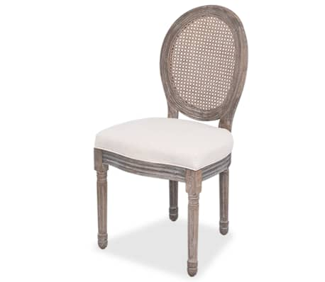 vidaXL Valgomojo kėdės, 2 vnt., linas ir ratanas[2/7]