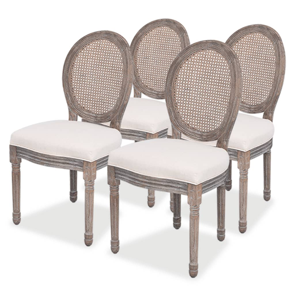 vidaXL Καρέκλες Τραπεζαρίας 4 τεμ. από Λινό Ύφασμα και Ρατάν