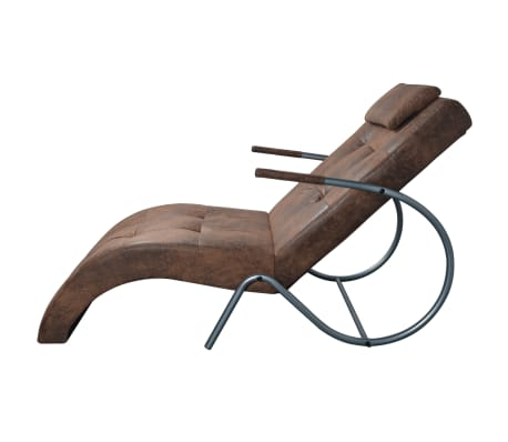 acheter vidaxl chaise longue avec coussin marron tissu daim pas cher. Black Bedroom Furniture Sets. Home Design Ideas