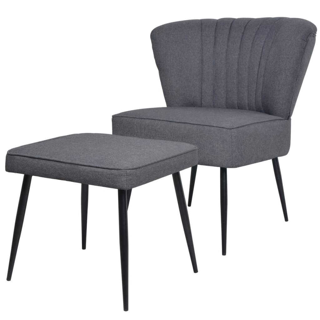 Afbeelding van vidaXL Cocktail stoel met voetenbank stof donkergrijs