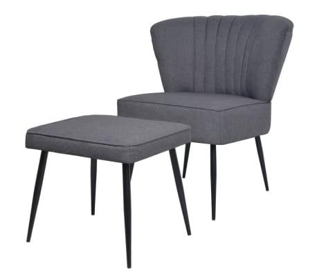 vidaXL atpūtas krēsls ar kāju soliņu, tumši pelēks audums