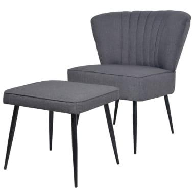 vidaXL Kokteilinė kėdė su kėdute, audinys, tamsiai pilka[1/10]