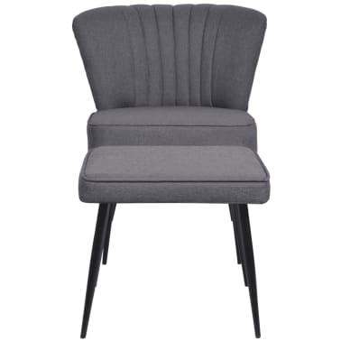 vidaXL Kokteilinė kėdė su kėdute, audinys, tamsiai pilka[2/10]