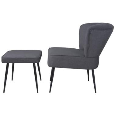 vidaXL Kokteilinė kėdė su kėdute, audinys, tamsiai pilka[3/10]
