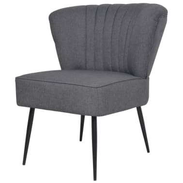 vidaXL Kokteilinė kėdė su kėdute, audinys, tamsiai pilka[4/10]