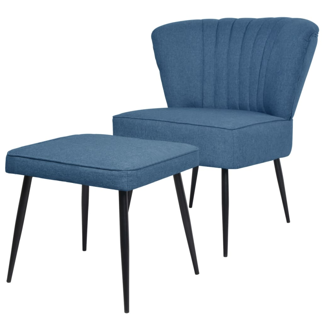 Afbeelding van vidaXL Cocktail stoel met voetenbank stof blauw