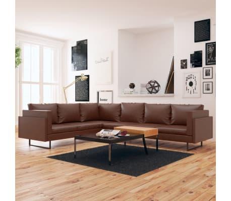 vidaxl ecksofa kunstleder braun g nstig kaufen. Black Bedroom Furniture Sets. Home Design Ideas