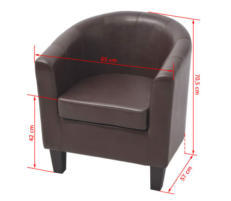 vidaXL Armchair Brown Faux Leather[7/7]