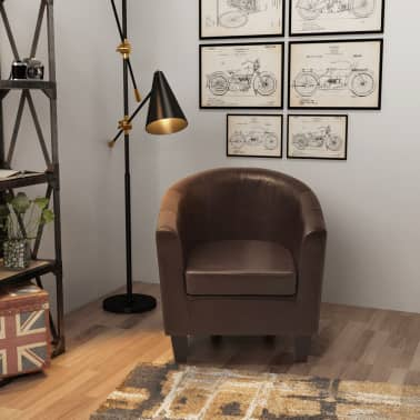 vidaXL Armchair Brown Faux Leather[1/7]