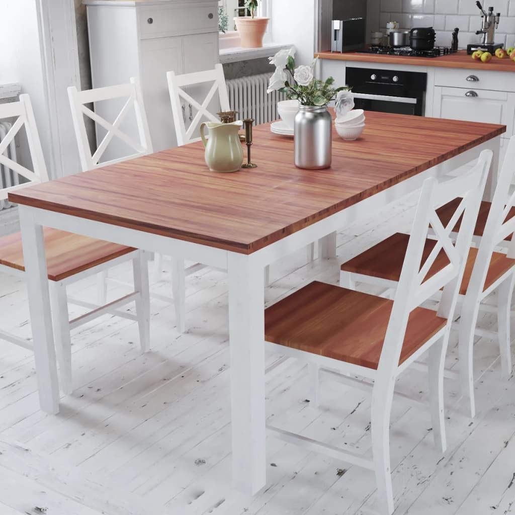 vidaXL Masă de sufragerie din lemn masiv de tec și mahon 180x90x75 cm