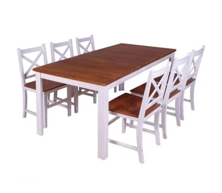 vidaXL Set 7 Pz Sedie/Tavolo Sala da Pranzo in Legno Massello di ...