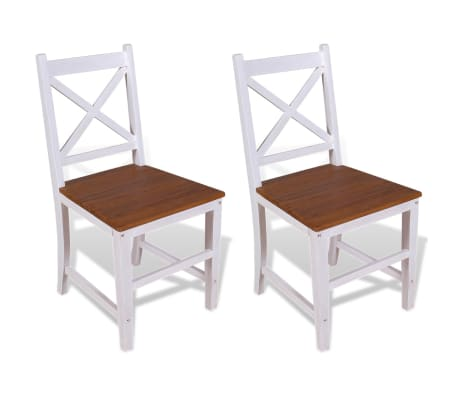 vidaXL Dining Chairs 2 pcs Solid Teak Mahogany