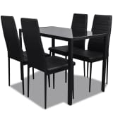 vidaXL Five Piece Dining Table and Chair Set Black