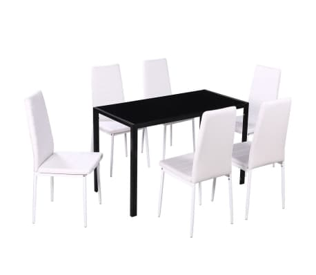 vidaXL Seven Piece Dining Table and Chair Set Black and White