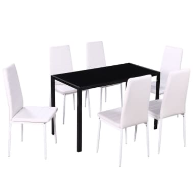 vidaXL Seven Piece Dining Table and Chair Set Black and White[2/5]