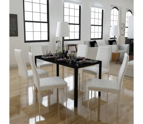 vidaXL Seven Piece Dining Table and Chair Set Black and White[1/5]